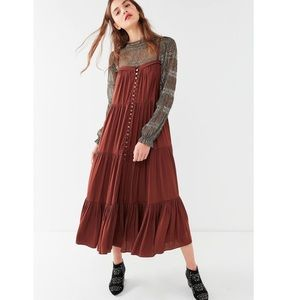 Urban outfitters satin forever tiered maxi dress